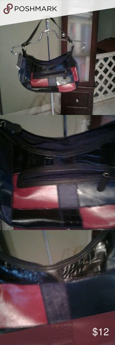 """Merona purse Great black purse with patchwork pieces in different colors. Measure  app 14"""" x 7"""". Merona Bags"""