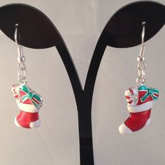 christmas stocking earrings made with mixed by BrowniesCRAFTBOX