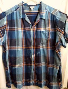 KingSize Big Tall Mens Shirt 7XL Linen Rayon Blue Plaid Dry Cleaned