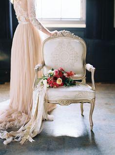 Chiffon Wedding Dress with a Vintage Chair | Maria Lamb Photography | http://heyweddinglady.com/most-unique-inventive-wedding-design-ideas-2015/