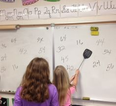 Fly Swatter! Third and fourth graders love this multiplication game!  Divide the class into two teams and line them up in front o...