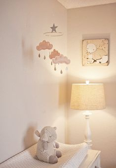 "Peach cloud mobile for nursery ""May"" by The Butter Flying #mobile #nursery #baby #clouds #star #raindrops #soft #palette #girl"