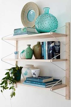 "Ellos Home ""Elsa"" Bookshelf in white stained pine/metal - Decor, Furniture, Shelves, Colorful Interiors, Interior, Sweet Home Alabama, Home Decor, Shelf Decor, Wood Design"