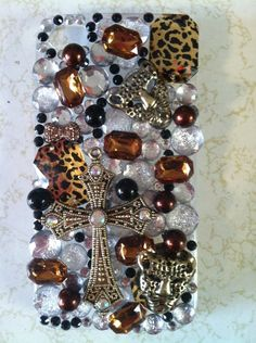 Black Friday Etsy Custom Iphone 4/4s Leopard Bling by SheDazzled