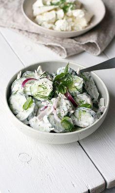 Raikas kurkkusalaatti | Maku Raw Food Recipes, Veggie Recipes, Salad Recipes, Vegetarian Recipes, Cooking Recipes, Healthy Recipes, Free Recipes, Food Goals, Slow Food
