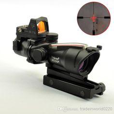 Wholesale Hunting Scopes & Optics - ACOG Style 4X32 Real Fiber Source Red Illuminated Scope W/ RMR Micro Red Dot, $134.5