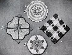 Add Zing to Kitchen Pot Holders crochet patterns from Crocheted Rugs, originally published by Lily Mills Company, Book No. Crochet Potholder Patterns, Vintage Crochet Patterns, Crochet Dishcloths, Crochet Motif, Free Crochet, Crochet Borders, Crochet Hot Pads, Crochet Wool, Crochet Mittens
