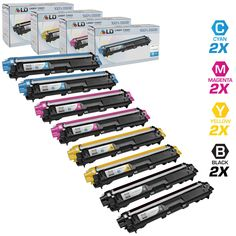 LD © compatible with Brother TN221 and TN225 Bulk Set of 8 laser toner Cartridges: 2 each of Black / Cyan / Magenta / Yellow for use in the HL-3140CW. HL-3170CDW, MFC-9130CW, MFC-9330CDW & MFC9340CDW Printers