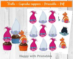 Trolls cupcake Toppers - Trolls cake toppers - Poppy toppers - Trolls party - Trolls birthday cake toppers - Troll Branch topper - DJ Suki by HappywithPrintables on Etsy Trolls Party, Trolls Birthday Party, 4th Birthday Parties, 8th Birthday, Birthday Ideas, Birthday Cake Toppers, Birthday Cupcakes, Cupcake Toppers, Little Girl Birthday