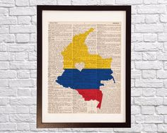 Colombia Dictionary Art Print - Bogota Art - Print on Vintage Dictionary Paper - Colombian Flag, Any Color - Medellin, Cartagena, Cali Colombia Map, Colombian Flag, Colombia Country, Map Tattoos, Flag Art, Watercolor Map, Dictionary Art, Flag Colors, Mariana