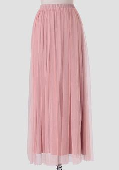 We're loving this adorable light pink maxi skirt adorned with a breezy tulle overlay. Complete with a fully elasticized waistband, this soft skirt looks gorgeous styled with a printed blous...