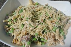 Fusilli with Creamy Bacon and Pea Sauce (Flashback Friday!) - The Candid RD