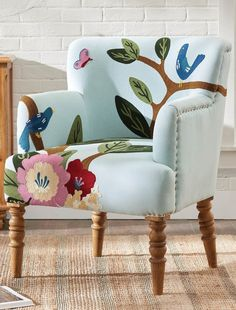Create a standout moment in the living room or bedroom, while maintaining the comfort you enjoy. Colorful and sweet. Motif depicts two birds in mid-conversation, among painterly leaves, branches, and flowers. Certain your guests will be talking, too. Wood Arm Chair, Wing Chair, Leather Club Chairs, Home Office Furniture, Outdoor Furniture, Funky Furniture, Furniture Makeover, Furniture Ideas, Buy Chair