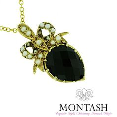 Something a little different? Seed #pearl bow and #onyx pendant in yellow #gold! #onyxjewellery #montashjewellerydesign