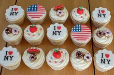 New York themed cupcakes. www.facebook.com/happylbaker