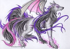 Purple Anime Wolves with Wings | anime wolf purple anime wolf with wings golden anime wolf green anime ...