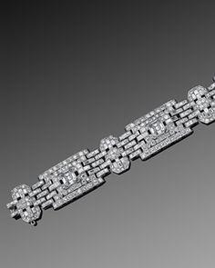 Art Deco Asscher Cut Diamond Wide Bracelet_Fred Leighton