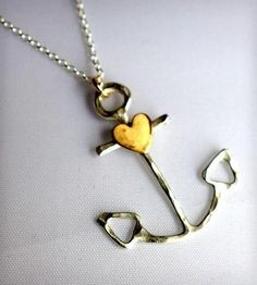 Anchor Necklace with Heart by Rachel Pfeffer Jewelry