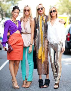 Street Style Spring 2012: Clarins sisters in color-blocking, mettalics, lace & maxi skirts.