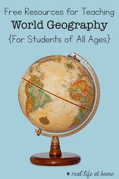 Need some free world geography resources? Don't miss this list of websites, printables, games, books and other ideas for you to utilize at school or home. World Geography Lessons, Teaching World Geography, Geography Activities, Geography For Kids, Social Studies Activities, Teaching Social Studies, Kids Learning Activities, Teaching History, Kindergarten Activities