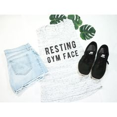 Resting Gym Face Funny Shirt Workout Shirt Exercise Tank Exercise... (125 CNY) ❤ liked on Polyvore featuring silver, tanks, tops, women's clothing and muscle tank