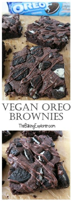 Recipe for delicious vegan oreo brownies - moist, chocolatey and so moreish! Dairy and egg free, can also be made gluten free if desired Vegan Oreo Brownies - The Baking Explorer Nils nmonden Delicious Vegan. Recipe for delicious vegan oreo brown Desserts Végétaliens, Vegan Dessert Recipes, Dairy Free Recipes, Brownie Recipes, Vegan Baking Recipes, Gluten Free Vegan Cake, Dairy Free Meals, Egg Free Desserts, Cake Recipes
