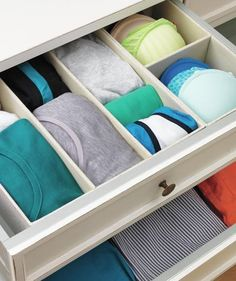 Divide and Conquer If you're unsure of how best to split a small drawer, default to equal quadrants. Then sort by style or color—whichever makes it easier to spot, say, that one pair of undies you need for those white jeans.