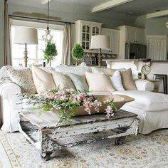 Thanks for visiting our shabby chic style living room photo gallery where you can search shabby chic living room design ideas. This is our main shabby chic living room design gallery where you can browse photos or filter down your . French Country Living Room, Shabby Chic Living Room, French Country Decorating, Shabby Chic Homes, Shabby Chic Furniture, Home Living Room, Living Room Designs, French Decor, White Furniture