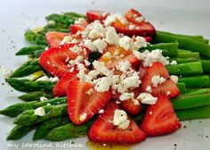 My Carolina Kitchen: Asparagus with Strawberries & Feta Cheese, plus Bell Peppers in Vinegar, Sugar, and Oregano, both using Vermont Vinegars
