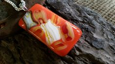 Orange fused glass pendant/Necklace/Silver chain with bail/Byllseye coe glass/Valentine giftHandmade design Silver Pendant Necklace, Glass Pendants, Fused Glass, Crafting, Warm, Orange, Awesome, Places, Check