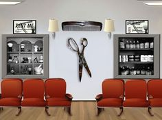 Large Polished Aluminium Comb & Scissors Wall Decoration