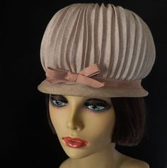1960's Chic High Domed Pleated Hat from The Vintage Vault at rubylane.com
