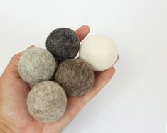 Natural Wool Cat Toys - 5x 4cm Wool Felt Ball - Mix of Natural Grey, Brown and Cream Felted Balls - Small Dog Toy - Pet Stocking Stuffer