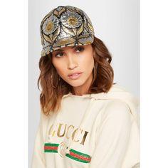 Gucci Berta metallic jacquard cap (£245) via Polyvore featuring accessories, hats, gucci hat, logo cap, 5-panel hat, cap hats and gucci cap