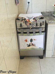 Conjunto cobre forno e cobre fogão – Galinha xadrez   Pano-Chique