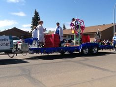 Stony plain library float . Farmers day parade 2014. Building Dreams