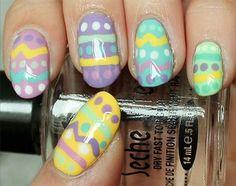Easy Easter Egg Nail Art Tutorial on SwatchAndLearn! Easter Egg Nail Art with a step-by-step tutorial! How To Do Nails, Fun Nails, Easter Nail Art, Latest Nail Art, Polka Dot Nails, Purple Art, Sparkle Nails, Super Nails, Fabulous Nails