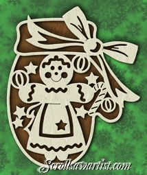 Scroll Saw Patterns :: Holidays :: Christmas :: Plaques & other projects :: Mitten with Gingerbread girl -