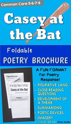 CASEY AT THE BAT Poetry Brochure - Motivate your students to dig deeper into poetry while  engaging them in a fun format! This six-sided brochure hits on all the important Common Core-aligned poetry skills with specific prompts related to the poem. Answer key is included.