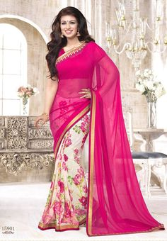 Dark Pink with White Colored Semi Georgette Half and Half Saree with Patch work Border and Dark Pink Colored Blouse Part @ Rs. 1025 Only http://www.shreedevitextile.com/women/sarees/synthetic-fancy-sarees/shree-devi/dark-pink-with-white-colored-semi-georgette-saree-15901