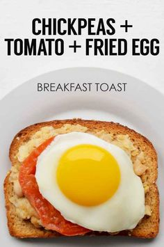 Mashed Chickpeas + Tomato Slice + Fried Egg | 21 Ideas For Energy-Boosting Breakfast Toasts