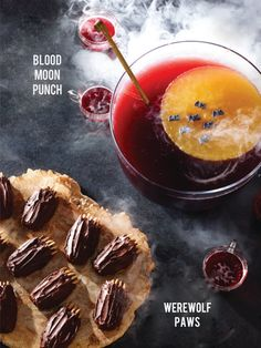 Three fun (and adorable) Halloween party recipes from Martha Stewart :    Blood-Moon Punch   ·     4 cups orange juice   ·     4 cups wa...