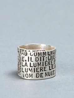 Serge Thoraval silver ring with inscription as to be made as to be worn around the finger #sergethoraval