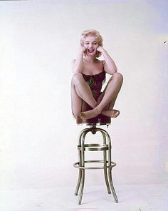 marilyn having fun with a bar stool pose