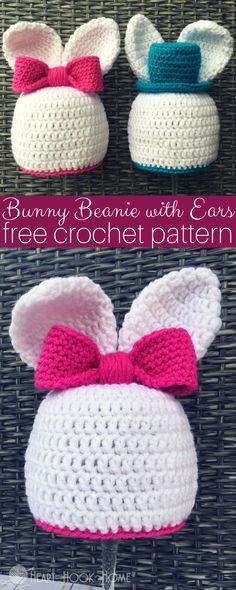 Easy Crochet Bunny Beanie with Ears. How cute and lovely the baby looks in this crochet baby bunny beanie with ears! Bunny Crochet, Crochet Gratis, Easter Crochet, Crochet For Boys, Crochet Baby Hats, Diy Crochet, Crochet Flowers, Crochet Patterns For Beginners, Easy Crochet Patterns