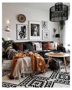 Living Room Inspo, Fall Living Room Decor, Modern Boho Living Room, Living Furniture, Brown Living Room, Small Living Room Furniture, Living Room Designs, Living Decor, Bohemian Style Living Room