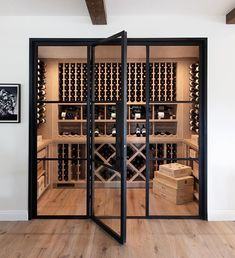 A wine room after our own hearts. How amazing did this wine storage space turn out? We converted the old pantry space to the fabulous… Wine Cellar Modern, Glass Wine Cellar, Wine Cellar Racks, Home Wine Cellars, Wine Cellar Design, Wine Bar Design, Wine Cellar Basement, Pantry Room, Wine Display