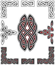 Set of celtic design elements Stock Vector