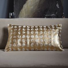 "Printed Boucle Pillow Cover 100% cotton with all-over jute bouclé embroidery.  Gold.  12""l x 21""w.  Accommodates a 12""l x 21""w. Pillow Insert (sold separately).  Button closure."