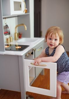 One Room Challenge Final Reveal // Spring 2015 Baby Nursery Closet, Ikea Nursery, Baby Nursery Diy, Ikea Kitchen Diy, Toddler Kitchen, Mini Kitchen, Kids Play Corner, Girl Nursery Themes, Kid Spaces